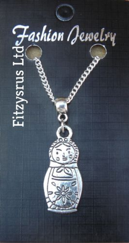 "18"" 24"" Inch Chain Necklace & Russia Russian Doll Pendant Charm"